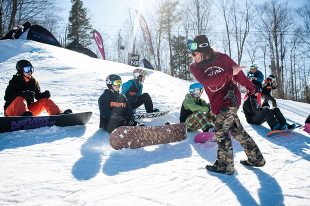 Christine Savage teaching proper frontside boardslides at Loon Mountain. p: Cole Martin